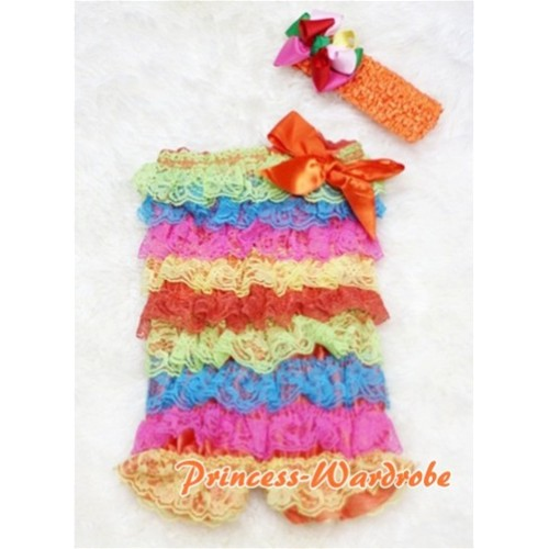 Passion Colorful Rainbow Layer Chiffon Romper with Orange Bow with Headband Set RH13