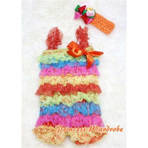 Passion Colorful Rainbow Layer Chiffon Romper with Orange Bow & Straps with Headband Set RH14