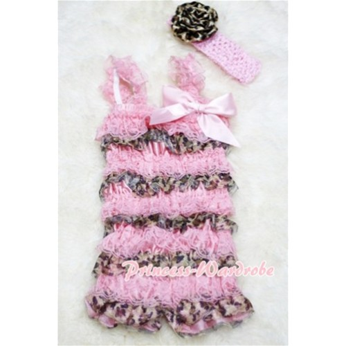 Leopard Light Pink Layer Chiffon Romper with Light Pink Bow & Straps with Headband Set RH18