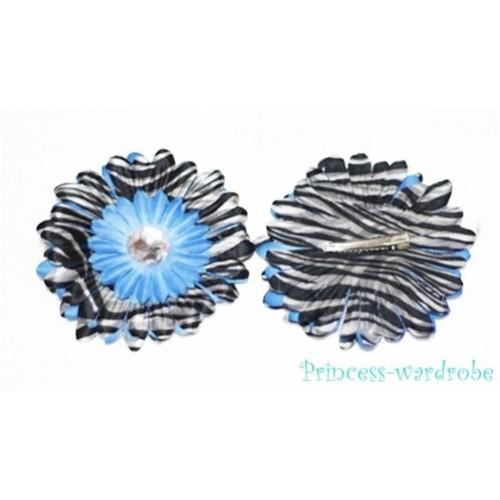 Blue Zebra Crystal Daisy Hair Pin H105
