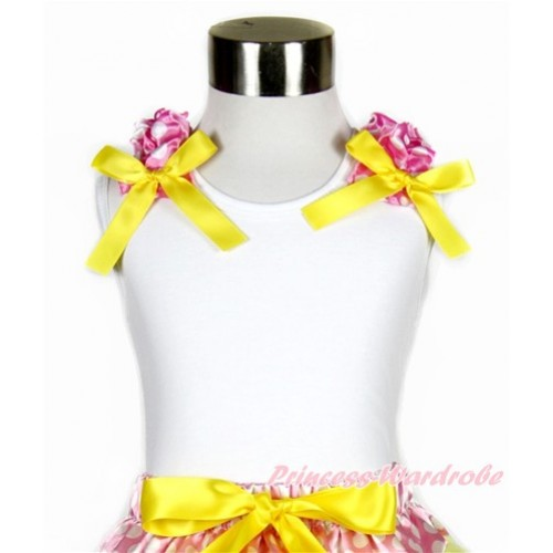 White Tank Top with Hot Pink White Dots Ruffles and Yellow Bow TB743