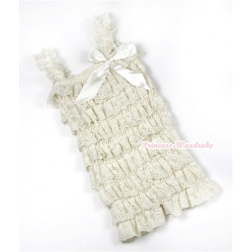 Cream White Lace Ruffles Petti Rompers with Straps with Cream White Bow LR165