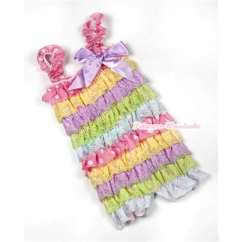 Rainbow Light Pink White Dots Lace Ruffles Petti Rompers with Straps with Lavender Bow LR166