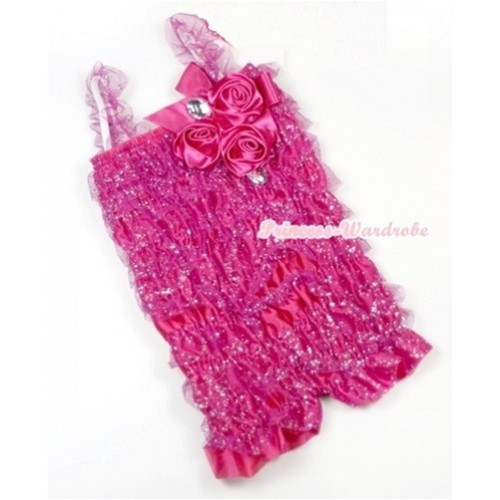 Sparkle Hot Pink Lace Ruffles Petti Rompers With Straps With Big Bow & Bunch Of Hot Pink Satin Rosettes& Crystal LR167