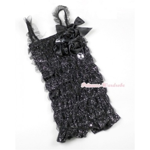 Sparkle Black Lace Ruffles Petti Rompers With Straps With Big Bow & Bunch Of Black Satin Rosettes& Crystal LR169