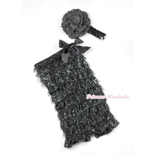 Sparkle Black Lace Ruffles Romper with Black Bows with Black Sequin Headband Black Peony Set RH120