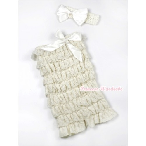 Cream White Lace Ruffles Romper with Cream White Bows with Cream White Headband Cream White Satin Bow Set RH121