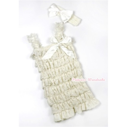 Cream White Lace Ruffles Romper with Cream White Bow & Straps with Cream White Headband Cream White Satin Bow Set RH127