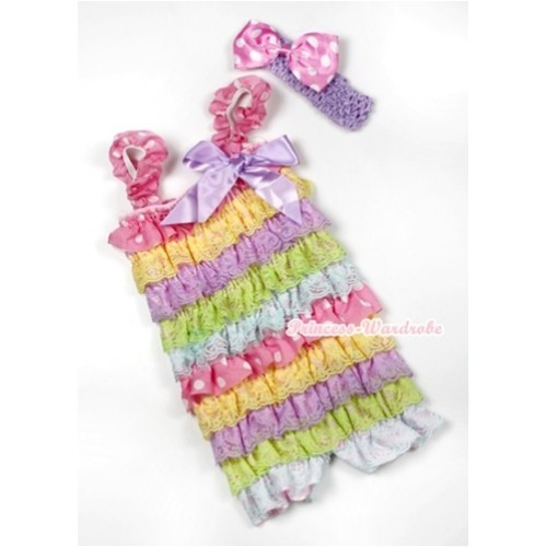 Rainbow Light Pink White Dots Lace Ruffles Romper with Lavender Bow & Straps with Lavender Headband Light Pink White Dots Satin Bow Set RH128