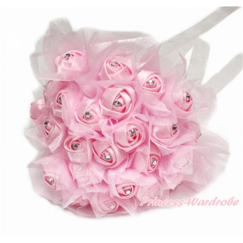 Light Pink Sparkle Crystal Bling Rhinestone Wedding Girl Satin Bridal Bouquet C232