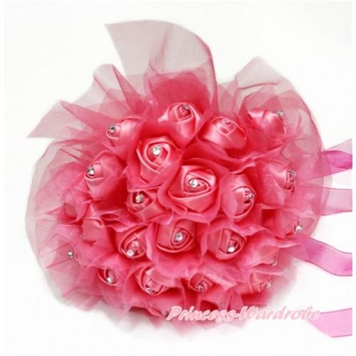 Hot Pink Sparkle Crystal Bling Rhinestone Wedding Girl Satin Bridal Bouquet C233
