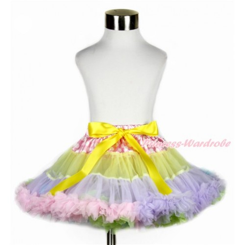 Hot Pink White Dots Waist Rainbow Yellow Lavender Light Pink Light Blue Full Pettiskirt P185