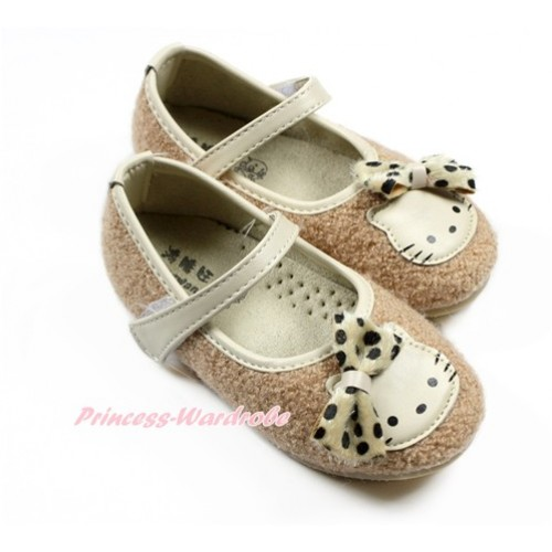 Khaki Bow with Kitty Slip On Girl Shoes 95819Khaki