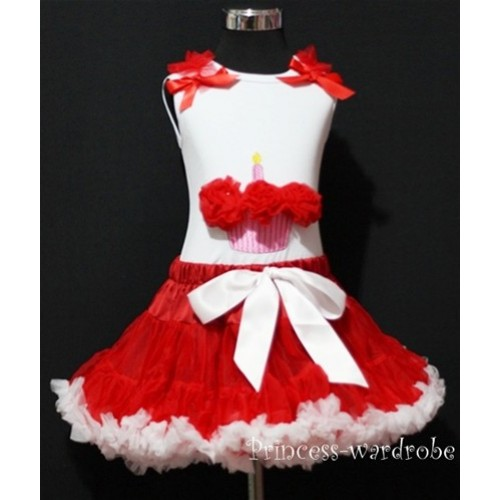 Red White Pettiskirt With White Birthday Cake Tank Top with Red Rosettes &Red Ruffles&Bow MC06
