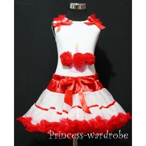 Red White Trim Pettiskirt With White Birthday Cake Tank Top with Red Rosettes &Red Ruffles&Bow  MC07