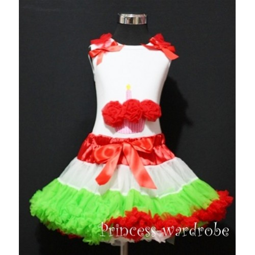 Red White Green Pettiskirt With White Birthday Cake Tank Top with Red Rosettes &Red Ruffles&Bow MC11