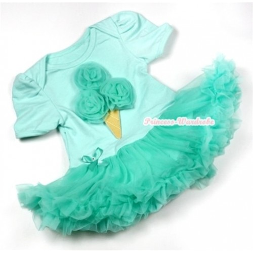Aqua Blue Baby Jumpsuit Aqua Blue Pettiskirt with Aqua Blue Rosettes Ice Cream Print JS539