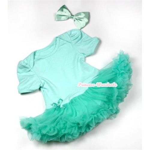 Aqua Blue Baby Jumpsuit Aqua Blue Pettiskirt With Aqua Blue Satin Bow JS544