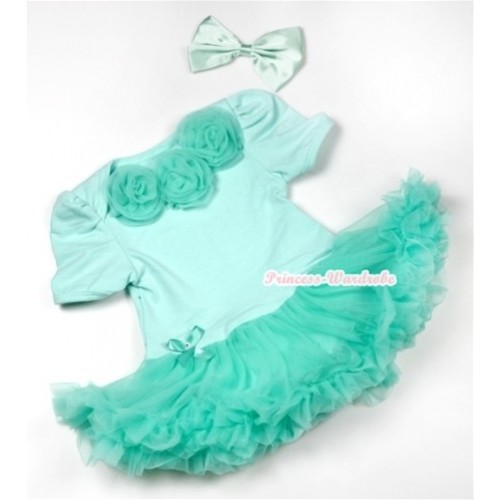 Aqua Blue Baby Jumpsuit Aqua Blue Pettiskirt With Aqua Blue Rosettes With Aqua Blue Satin Bow JS546