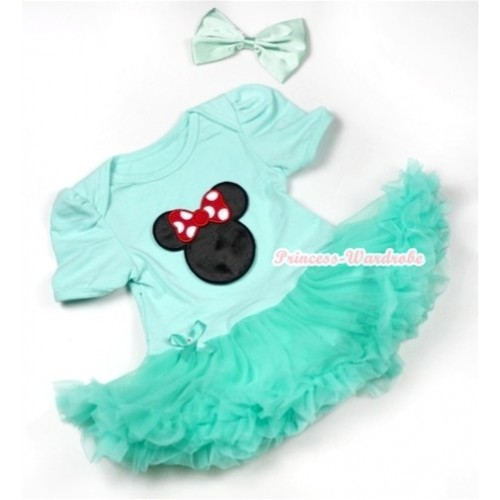 Aqua Blue Baby Jumpsuit Aqua Blue Pettiskirt With Minnie Print With Aqua Blue Satin Bow JS550
