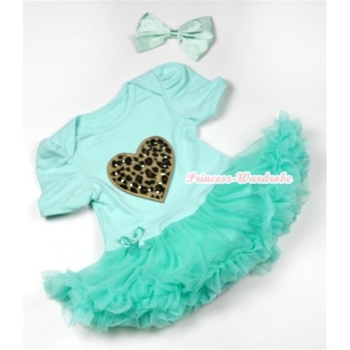 Aqua Blue Baby Jumpsuit Aqua Blue Pettiskirt With Leopard Heart Print With Aqua Blue Satin Bow JS552