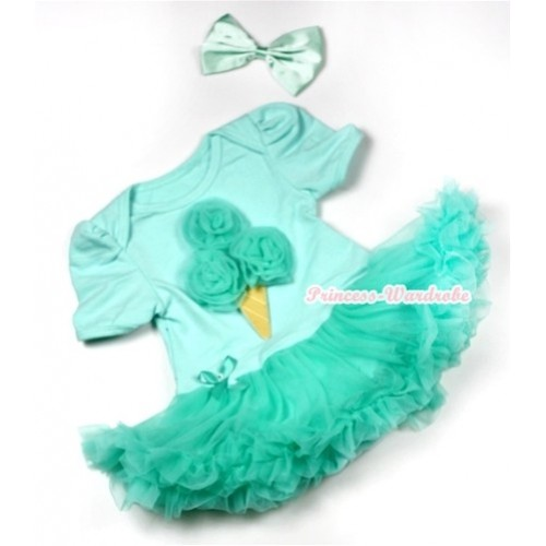 Aqua Blue Baby Jumpsuit Aqua Blue Pettiskirt With Aqua Blue Rosettes Ice Cream Print With Aqua Blue Satin Bow JS548