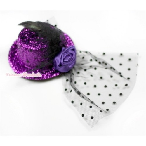 Black Feather and Polka Dots net Sparkle Dark Purple Hat Clip with Dark Purple Rose H621
