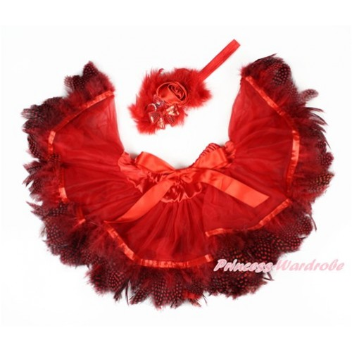 Hot Red Feather Newborn Pettiskirt & Red Headband Red Crystal Satin Rose Feather Bow 2 PC Set N217