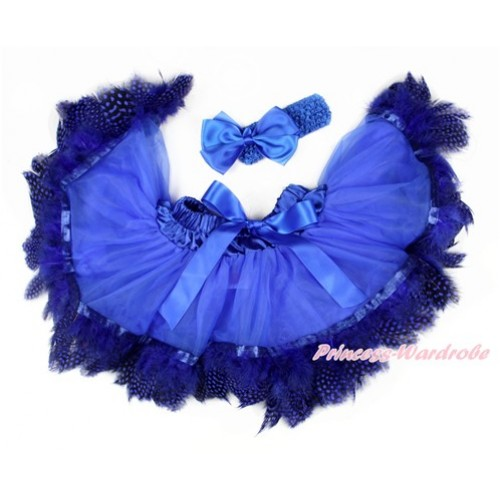 Royal Blue Feather Newborn Pettiskirt & Royal Blue Headband Royal Blue Silk Bow 2 PC Set N218