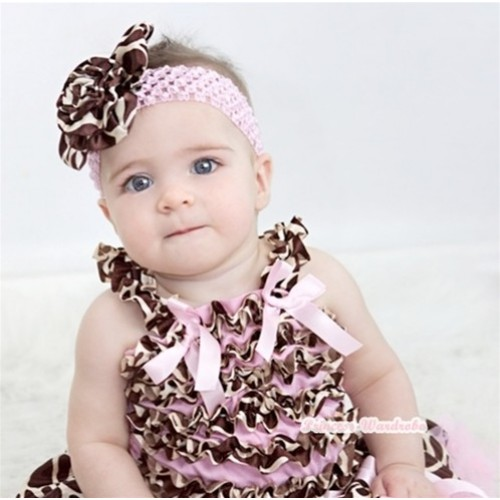 Light Pink Giraffe Baby Ruffles Top with Light Pink Bow RT23