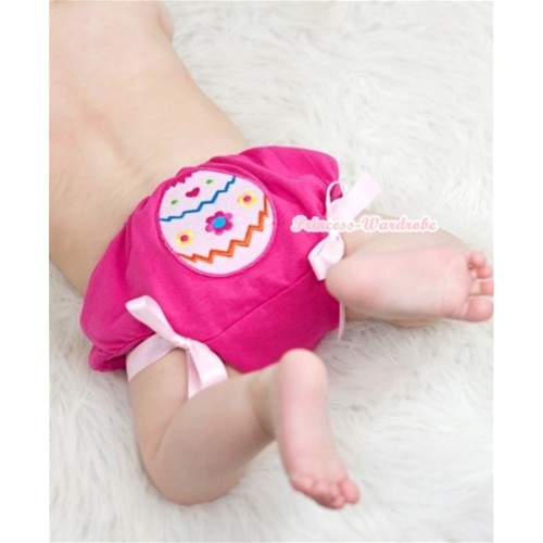 Hot Pink Bloomer With Easter Egg Print & Light Pink Bow BL120