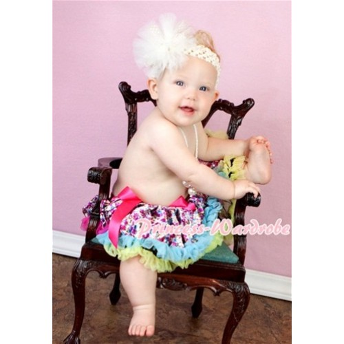 Hot Pink Rainbow Floral Fusion Baby Pettiskirt N68