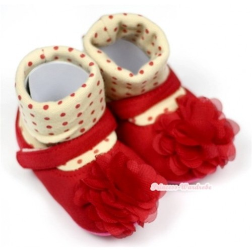 Cream White Red Polka Dots Red Rosettes Crib Shoes S529