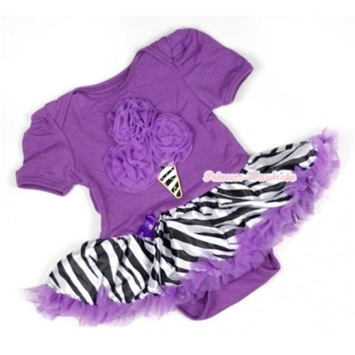 Dark Purple Baby Jumpsuit Dark Purple Zebra Pettiskirt with Dark Purple Zebra Ice Cream Print JS561