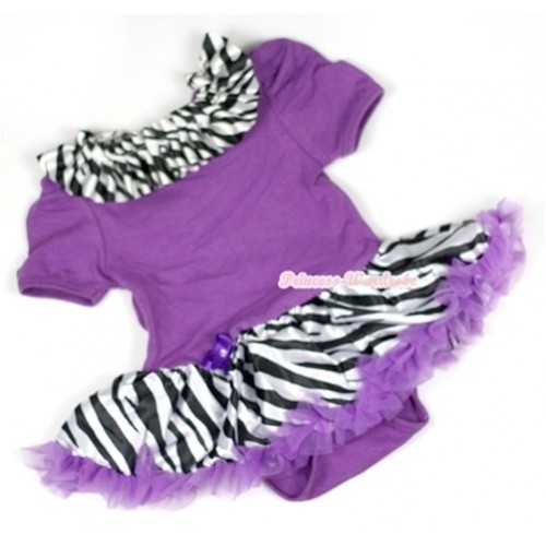 Dark Purple Baby Jumpsuit Dark Purple Zebra Pettiskirt With Zebra Satin Lacing JS568