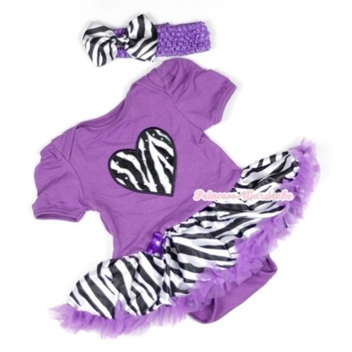 Dark Purple Baby Jumpsuit Dark Purple Zebra Pettiskirt With Zebra Heart Print With Dark Purple Headband Zebra Satin Bow JS580