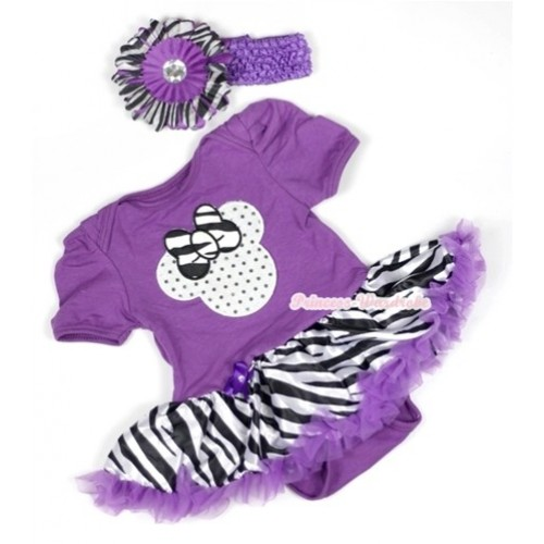 Dark Purple Baby Jumpsuit Dark Purple Zebra Pettiskirt With Saprkle White Minnie Print With Dark Purple Headband Dark Purple Zebra Flower JS583