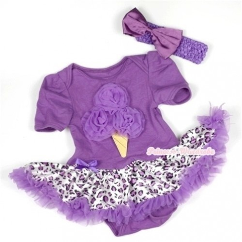 Dark Purple Baby Jumpsuit Dark Purple Leopard Pettiskirt With Dark Purple Ice Cream Print With Dark Purple Headband Dark Purple Satin Bow JS587