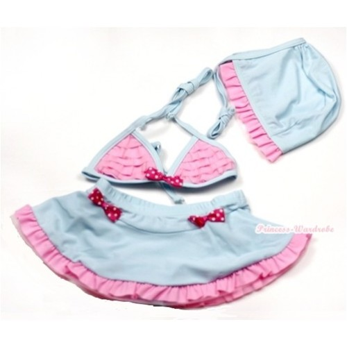 Light Blue Light Pink Striped Bikini Swimming Suit with Cap SW65