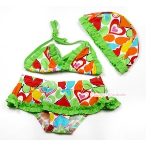 Bright Green Colourful Heart Bikini Swimming Suit with Cap SW66