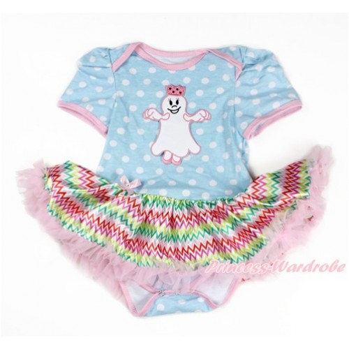 Light Blue White Dots Baby Bodysuit Jumpsuit Rainbow Chevron Pettiskirt with Princess Ghost Print JS3289