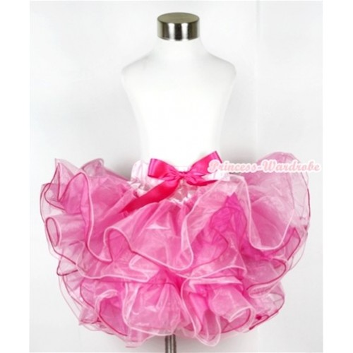 Hot Light Pink 8 Layers Full Pettiskirt With Hot Pink Bow B162