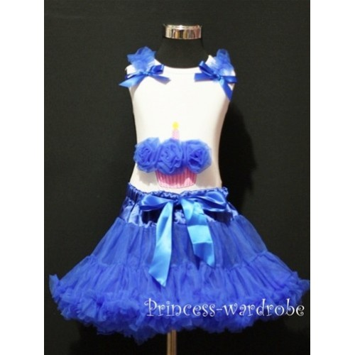 Royal Blue Pettiskirt With White Birthday Cake Tank Top with Royal Blue Rosettes & Royal Blue Ruffles&Bow MC16