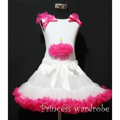 White Hot Pink Pettiskirt With White Birthday Cake Tank Top with Hot Pink Rosettes & Hot Pink Ruffles&Bow MC20
