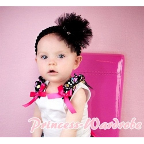 White Tank Top With Black Rainbow Polka Dot Ruffles & Hot Pink Bow T332
