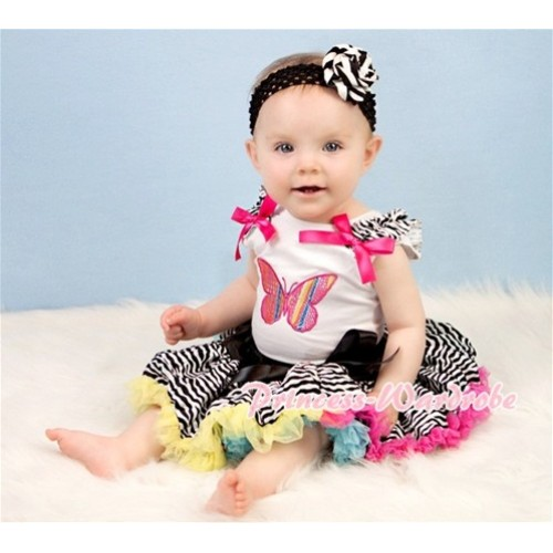 White Baby Pettitop & Rainbow Butterfly & Ruffles & Hot Pink Bows with Rainbow Zebra Baby Pettiskirt NG357