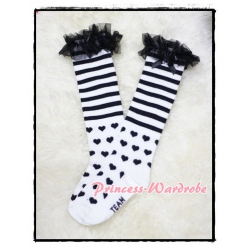 Black Stripes & Heart White Cotton Stocking with Ruffles SK46