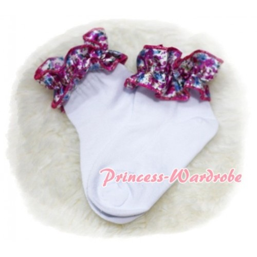 Plain Style Pure White Socks with Hot Pink Floral Ruffles H210