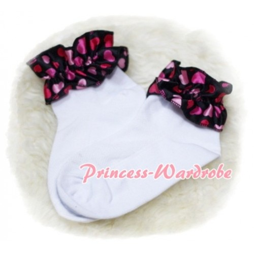 Plain Style Pure White Socks with Hot Pink Heart Ruffles H212