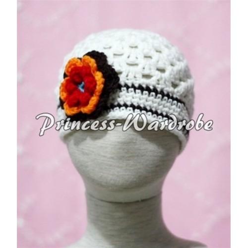 Sweety Style Big Sunshine Flower White Crochet Beanie Hat HA36